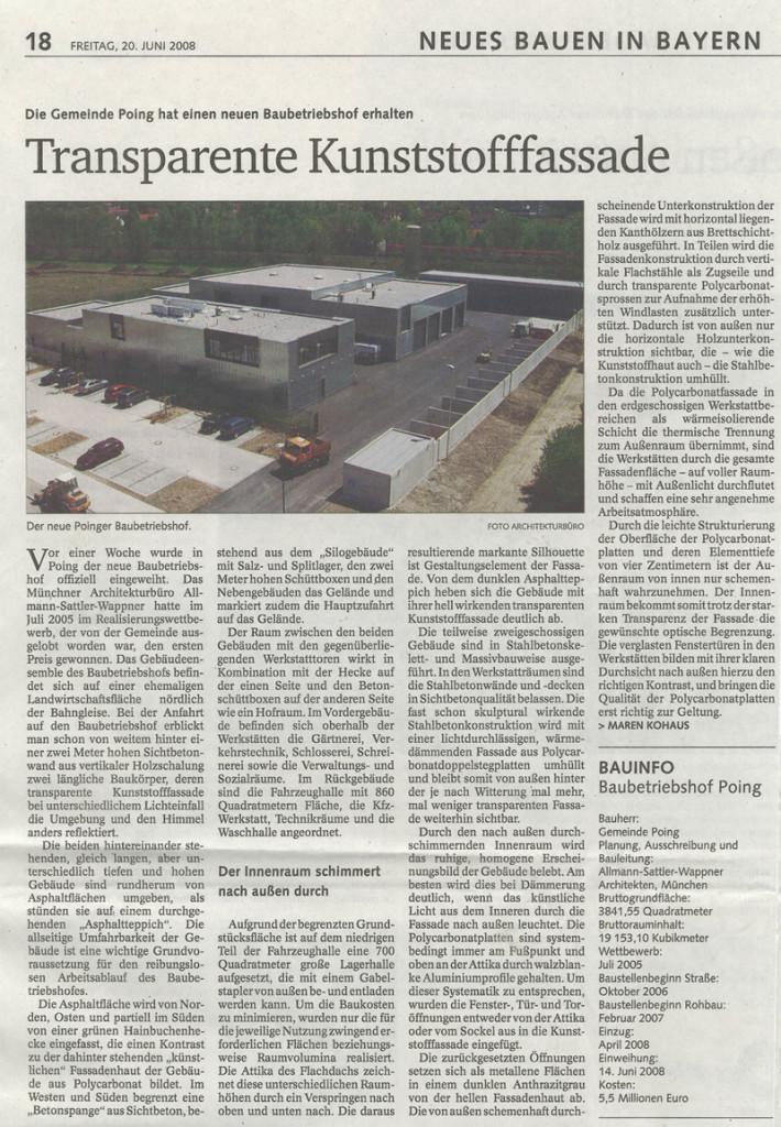 Bericht im Staatsanzeiger über die Einweihung des Baubetriebshof der Gemeinde Poing, Juni 2008