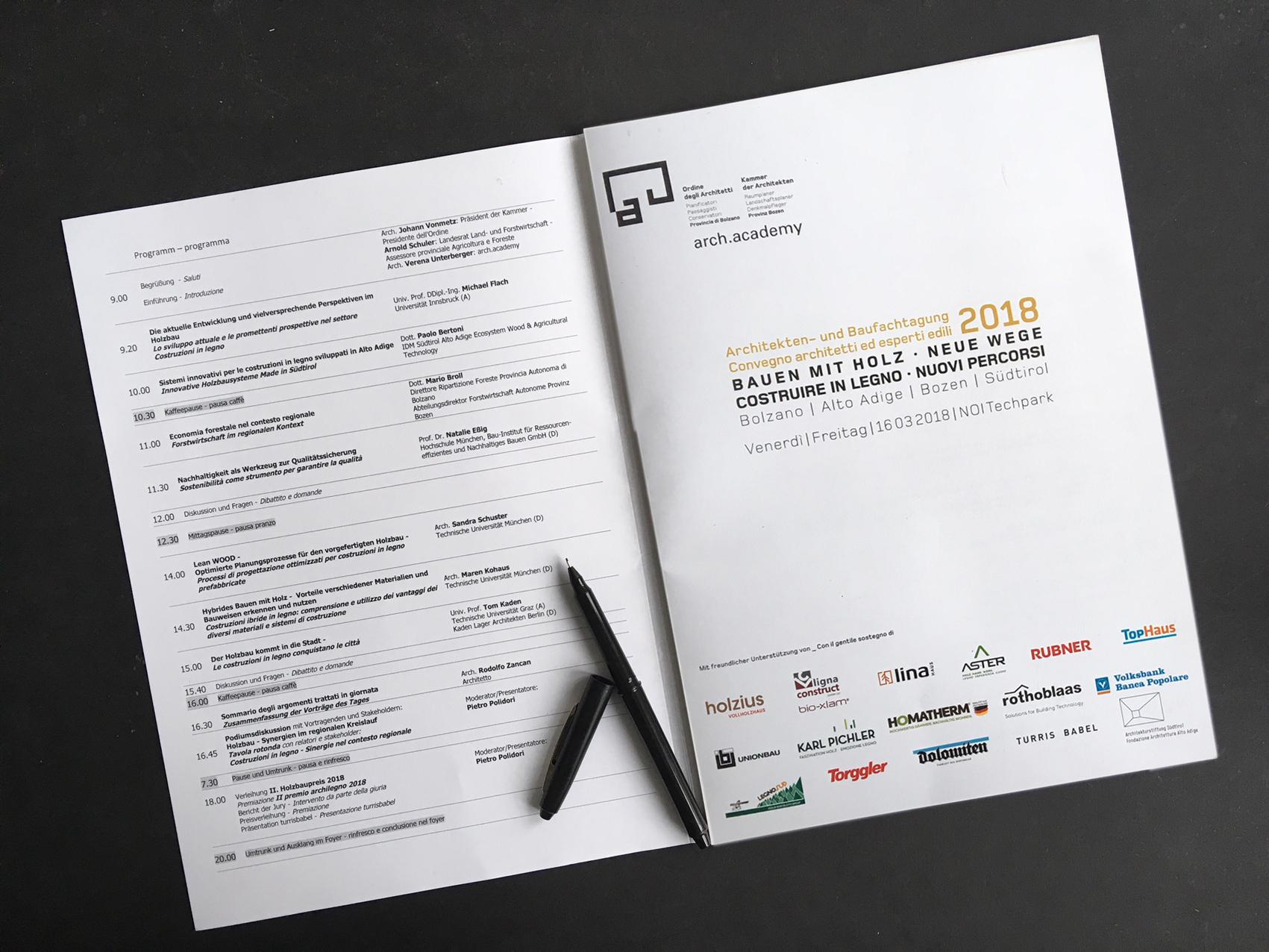 """Programm der Architekten- und Baufachtagung """"Bauen mit Holz - Neue Wege"""",  Bozen, 2018"""