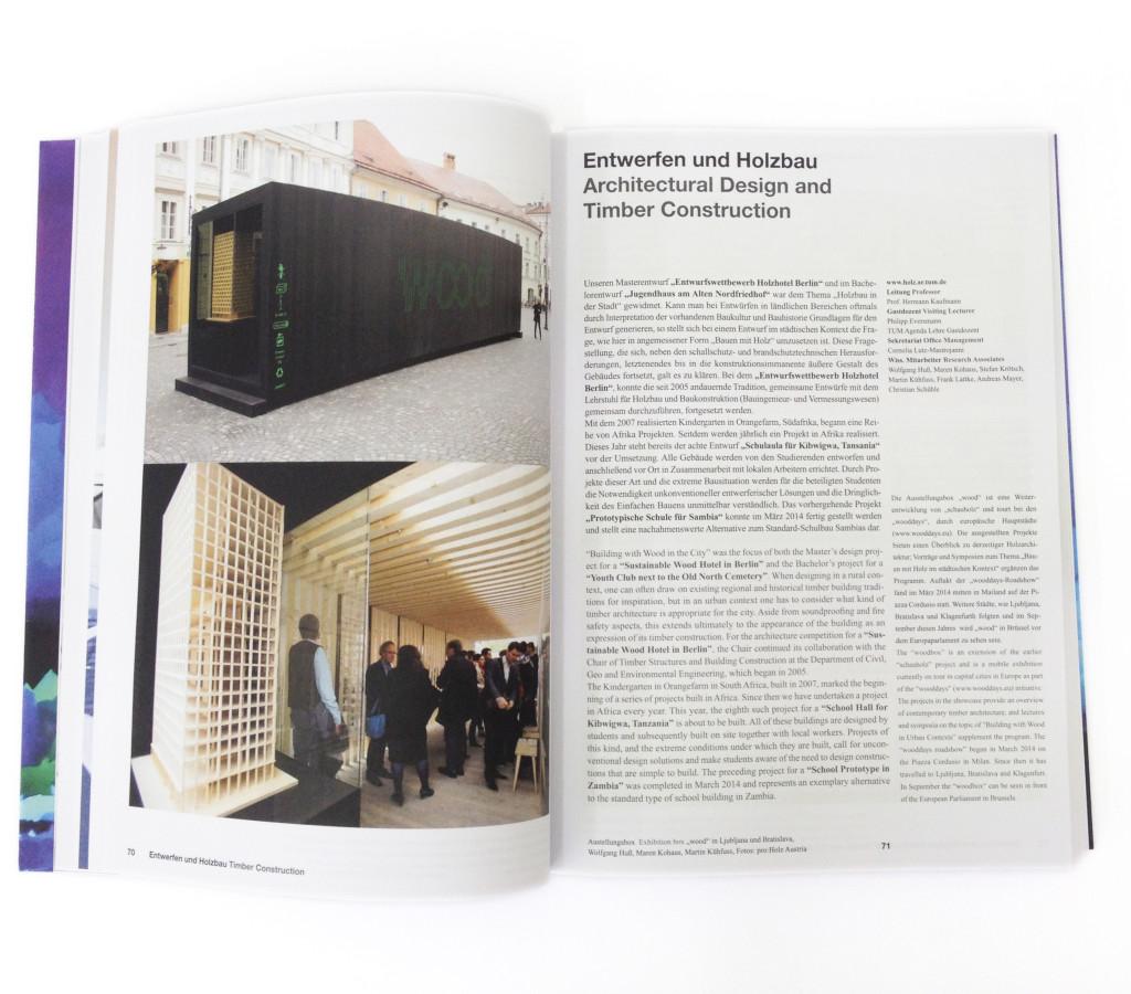 """Ausstellungsbox """"wood"""" im Jahrbuch der TUM, 2014"""