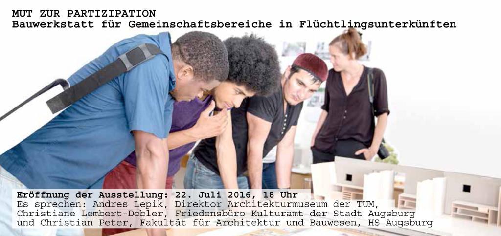 """Ausstellung der Arbeiten des Wahlfaches """"ALLMENDRAUM-offener Rückzugsort für Flüchtlinge"""", Lehrbeauftragte: Maren Kohaus, Dr. Hilde Strobel"""