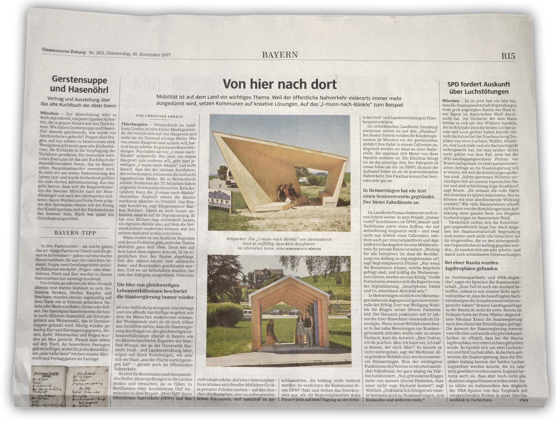 Fehlende Mobilität im ländlichen Raum - weiterhin ein großes Thema, das es zu lösen gilt. Ausschnitt Süddeutsche Zeitung,  16.11.2017