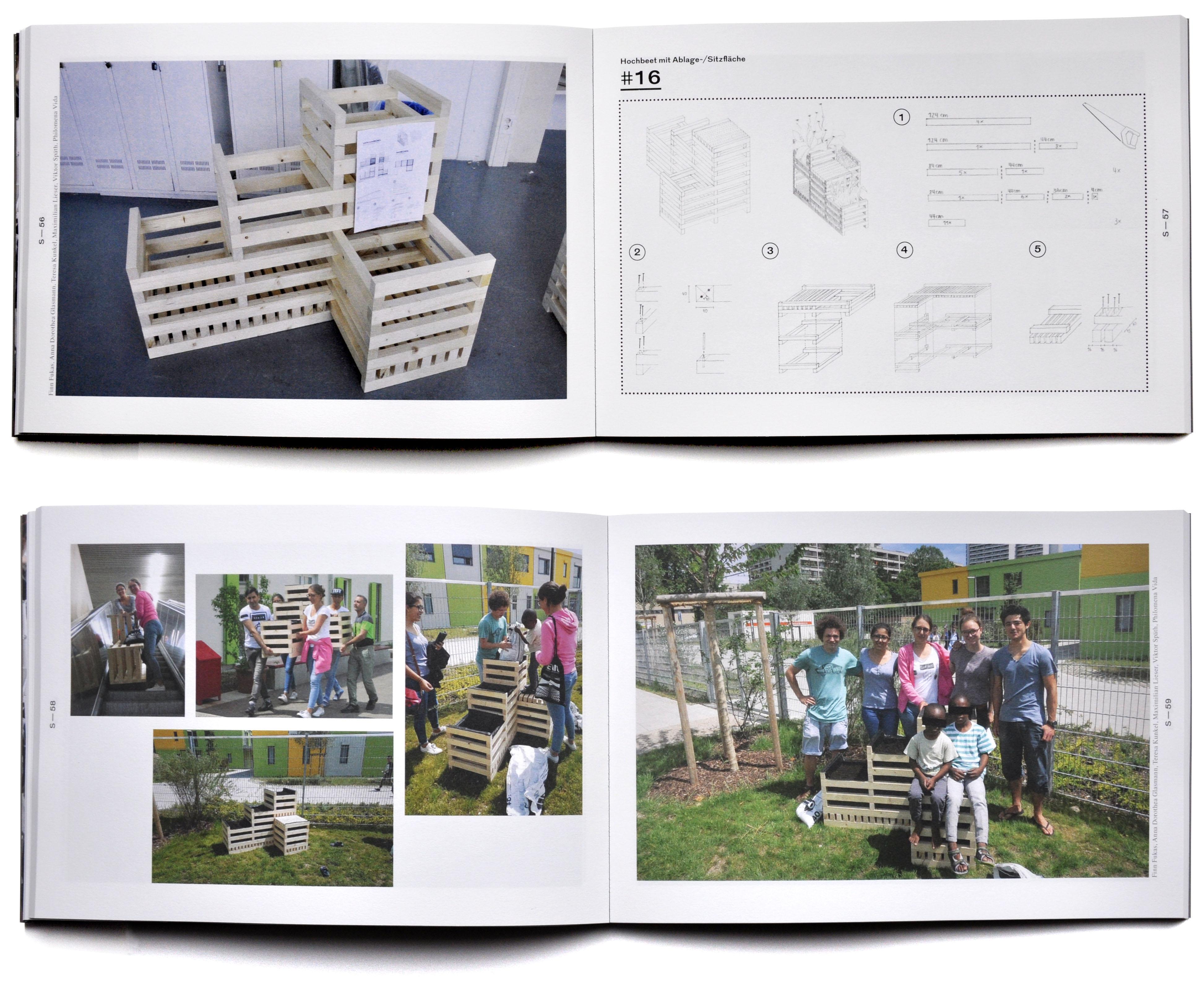 """Die im Rahmen dieser Übung entstandenen Prototypen sollen den Außenraum konkreter Unterkünfte aufwerten. Sie dienen im Zusammenhang mit den jeweiligen Bauanleitungen den Bewohnern der Unterkünfte als Inspiration, in den vom """"werkraum"""" eingerichteten Werkstätten unter professioneller Anleitung Mobiliar aus Holz herzustellen."""