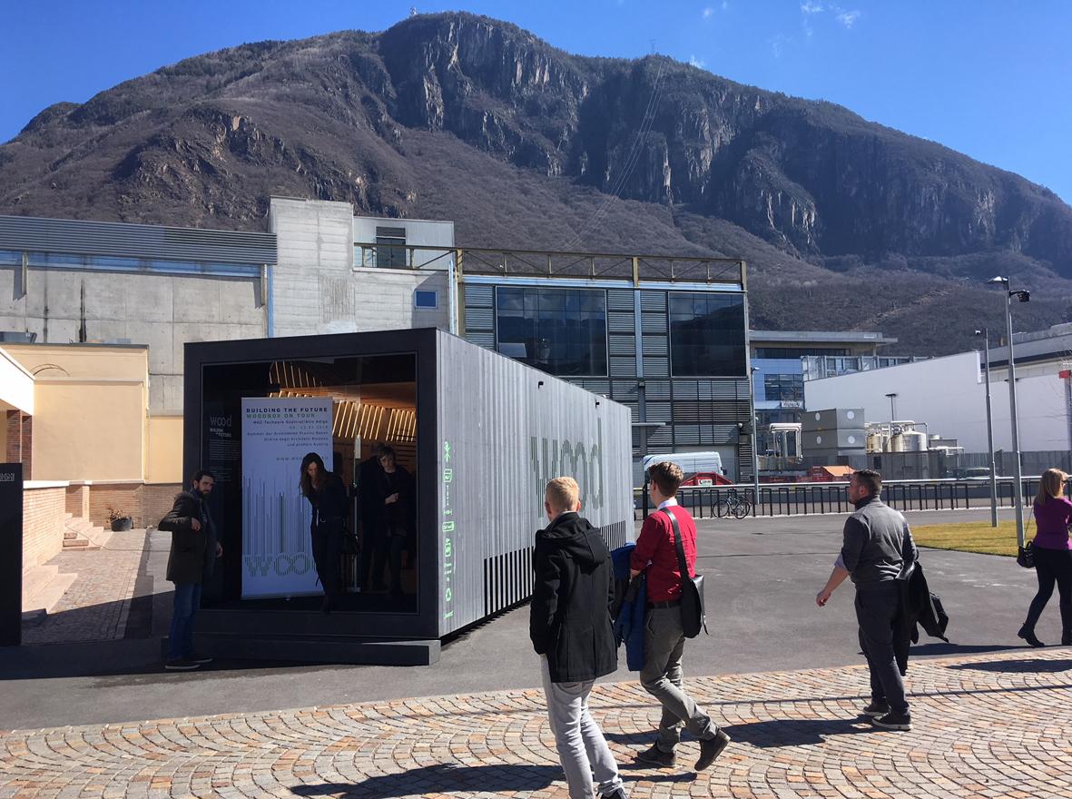 Anlässlich der Verleihung des 2. Holzbaupreises Südtirol und der gleichzeitig stattfindenden Holzbaufachtagung ist unsere 2013 entwickelte woodbox im NOI Techpark in Bozen zu sehen