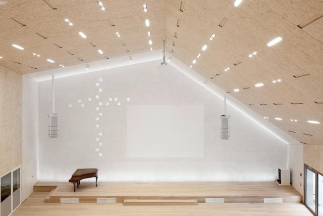 Blick auf Giebelwand im Kirchensaal, Foto: Thomas Weinberger