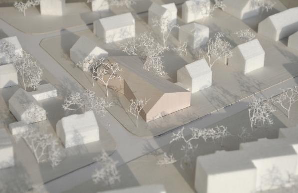 Positionierung des Gemeindehauses, Modellfoto: Maren Kohaus