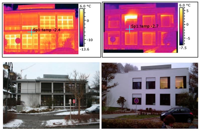 Thermografiebilder vor und nach der Sanierung des 2.Bauabschnittes (80iger Jahre)