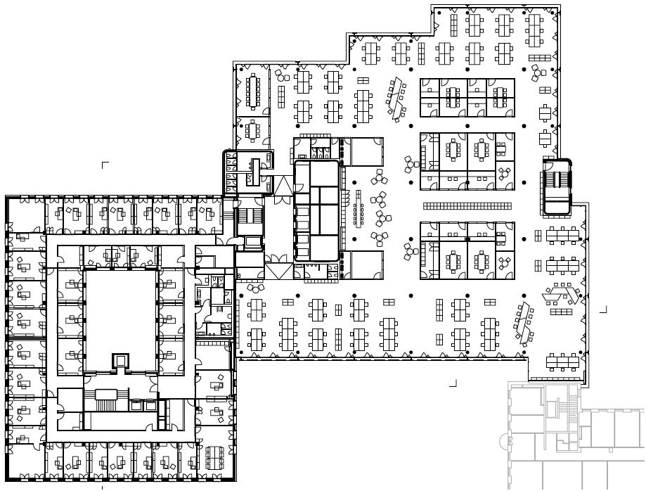 Haus Nr. 7 ist durch eine individuelle Zellenstruktur geprägt, Haus Nr. 9 durch ein multifunktionale Großraumflächen